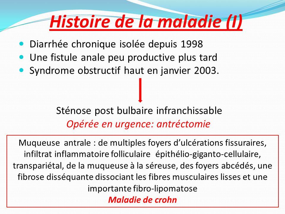 30 mai 2006 Drainage mise en place de sétons (6) Antibiothérapie séquentielle: Métronidazole Ciprofloxacine Azathioprine 2.5 mg/Kg/j Drains en place: 6 mois Écoulement abondant progressive du flux Confort: léger mieux