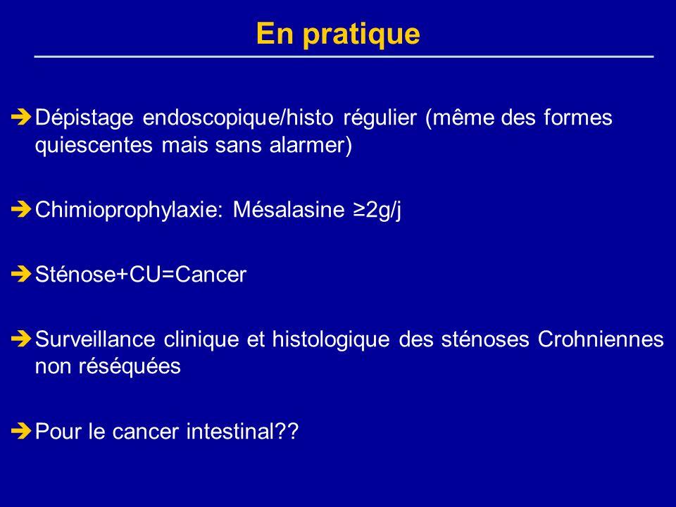 En pratique Dépistage endoscopique/histo régulier (même des formes quiescentes mais sans alarmer) Chimioprophylaxie: Mésalasine 2g/j Sténose+CU=Cancer