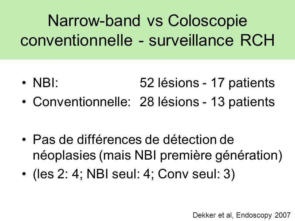 Narrow-band vs Coloscopie conventionnelle - surveillance RCH NBI: 52 lésions - 17 patients Conventionnelle: 28 lésions - 13 patients Pas de différences de détection de néoplasies (mais NBI première génération) (les 2: 4; NBI seul: 4; Conv seul: 3) Dekker et al, Endoscopy 2007