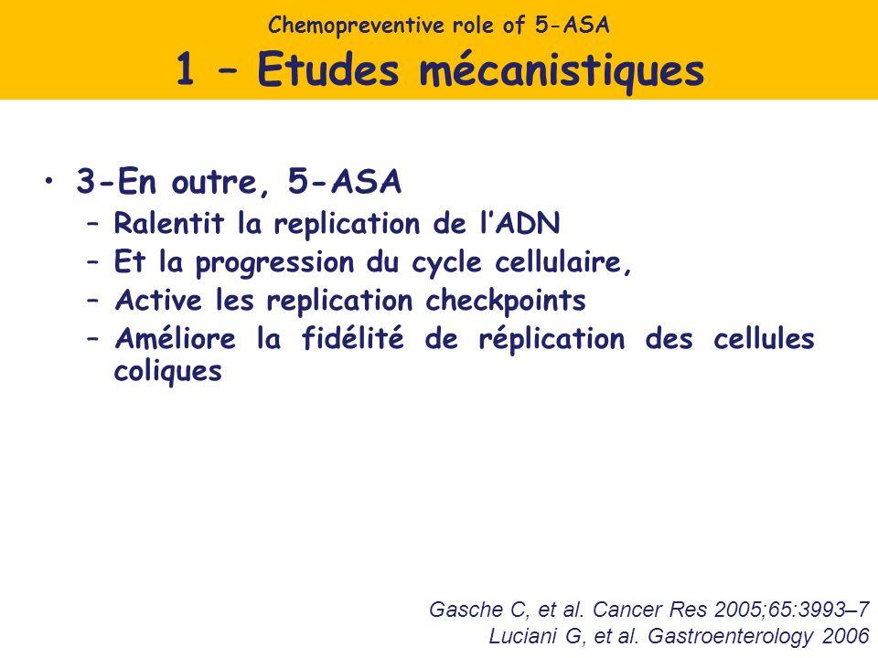 3-En outre, 5-ASA –Ralentit la replication de lADN –Et la progression du cycle cellulaire, –Active les replication checkpoints –Améliore la fidélité de réplication des cellules coliques Chemopreventive role of 5-ASA 1 – Etudes mécanistiques Gasche C, et al.
