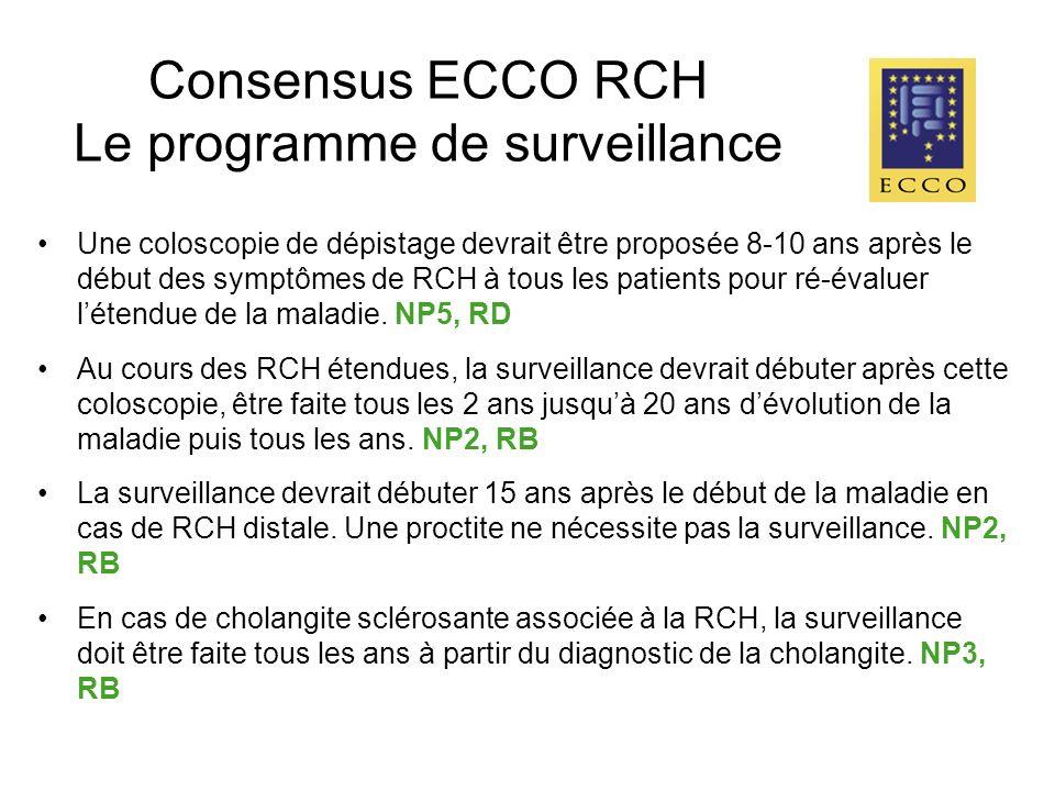 Consensus ECCO RCH Le programme de surveillance Une coloscopie de dépistage devrait être proposée 8-10 ans après le début des symptômes de RCH à tous les patients pour ré-évaluer létendue de la maladie.