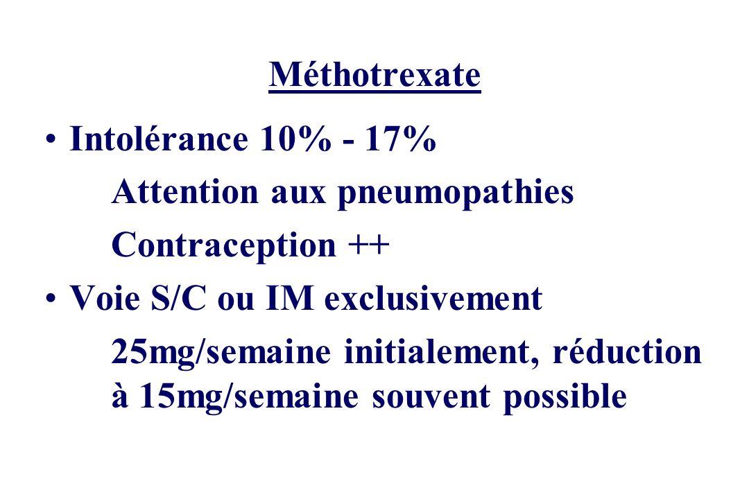Méthotrexate Intolérance 10% - 17% Attention aux pneumopathies Contraception ++ Voie S/C ou IM exclusivement 25mg/semaine initialement, réduction à 15