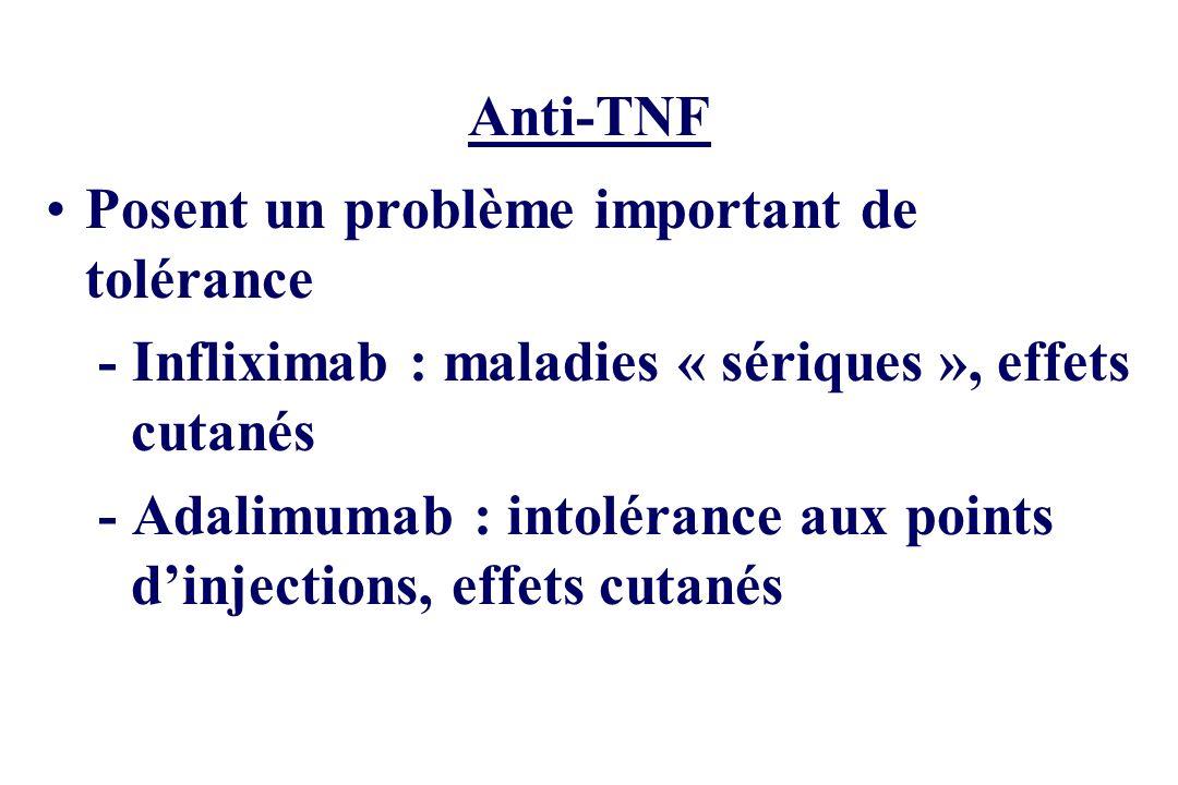 Anti-TNF Posent un problème important de tolérance - Infliximab : maladies « sériques », effets cutanés - Adalimumab : intolérance aux points dinjecti