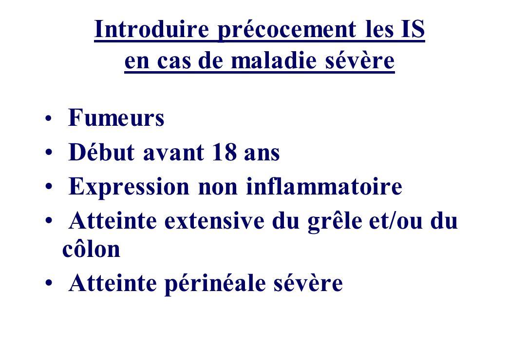 Introduire précocement les IS en cas de maladie sévère Fumeurs Début avant 18 ans Expression non inflammatoire Atteinte extensive du grêle et/ou du cô