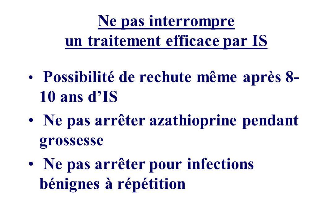 Ne pas interrompre un traitement efficace par IS Possibilité de rechute même après 8- 10 ans dIS Ne pas arrêter azathioprine pendant grossesse Ne pas