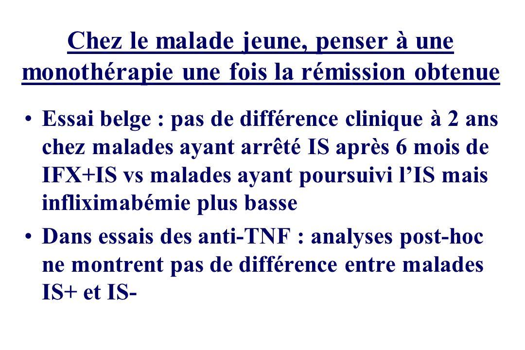 Chez le malade jeune, penser à une monothérapie une fois la rémission obtenue Essai belge : pas de différence clinique à 2 ans chez malades ayant arrê