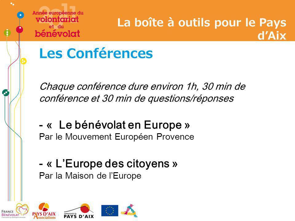 Les Conférences Chaque conférence dure environ 1h, 30 min de conférence et 30 min de questions/réponses - « Le bénévolat en Europe » Par le Mouvement