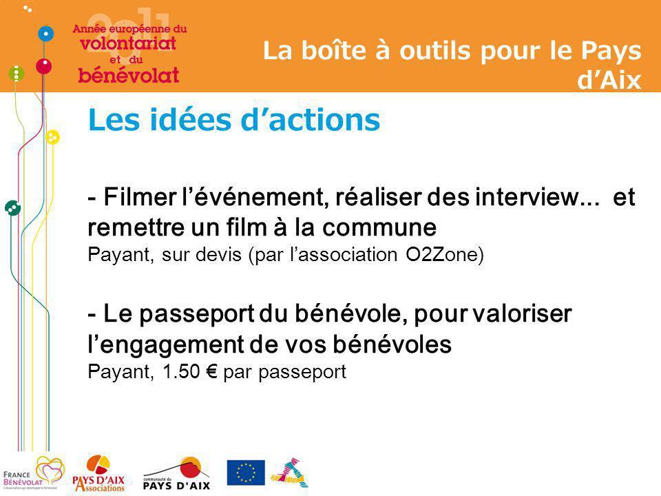 Les idées dactions - Filmer lévénement, réaliser des interview... et remettre un film à la commune Payant, sur devis (par lassociation O2Zone) - Le pa
