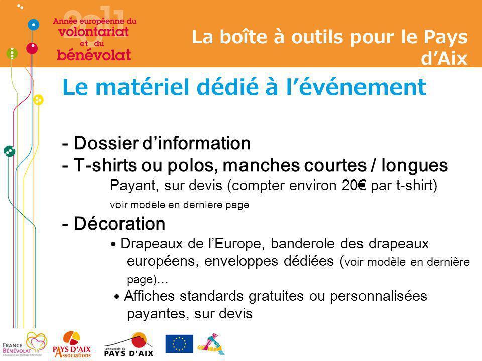 Le matériel dédié à lévénement - Dossier dinformation - T-shirts ou polos, manches courtes / longues Payant, sur devis (compter environ 20 par t-shirt