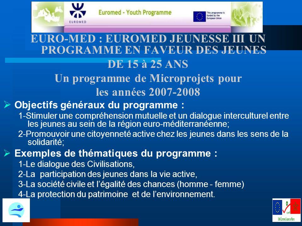 EURO-MED : EUROMED JEUNESSE III UN PROGRAMME EN FAVEUR DES JEUNES DE 15 à 25 ANS Un programme de Microprojets pour les années 2007-2008 O bjectifs généraux du programme : 1-Stimuler une compréhension mutuelle et un dialogue interculturel entre les jeunes au sein de la région euro-méditerranéenne; 2-Promouvoir une citoyenneté active chez les jeunes dans les sens de la solidarité; Exemples de thématiques du programme : 1-Le dialogue des Civilisations, 2-La participation des jeunes dans la vie active, 3-La société civile et légalité des chances (homme - femme) 4-La protection du patrimoine et de lenvironnement.