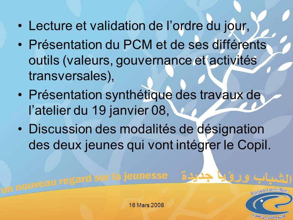 Lecture et validation de lordre du jour, Présentation du PCM et de ses différents outils (valeurs, gouvernance et activités transversales), Présentati