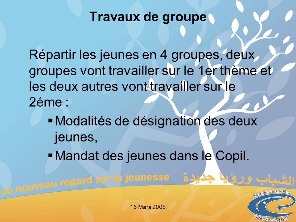 Travaux de groupe Répartir les jeunes en 4 groupes, deux groupes vont travailler sur le 1er thème et les deux autres vont travailler sur le 2éme : Mod