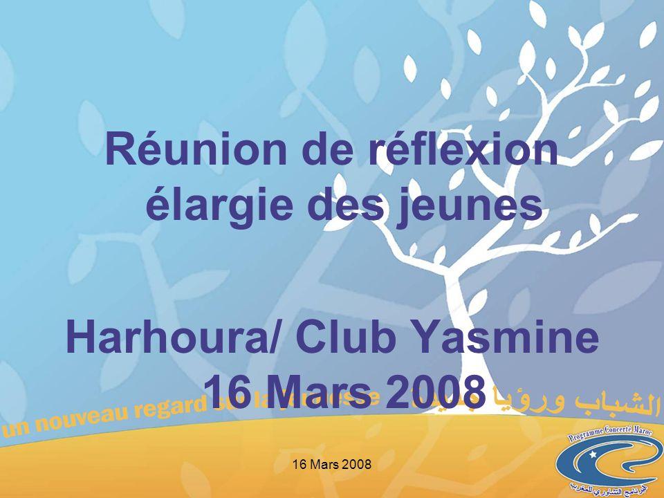 Réunion de réflexion élargie des jeunes Harhoura/ Club Yasmine 16 Mars 2008 16 Mars 2008