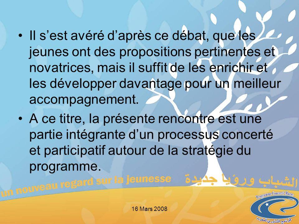 Dans ce sens, les objectifs proposés pour cette réunion sont les suivants : Présenter et mieux comprendre le Programme Concerté Maroc pour une meilleure appropriation, Unifier la compréhension du processus suggéré, Se concerter autour de la désignation des deux jeunes qui seraient appelés à siéger au Copil et les représenter.