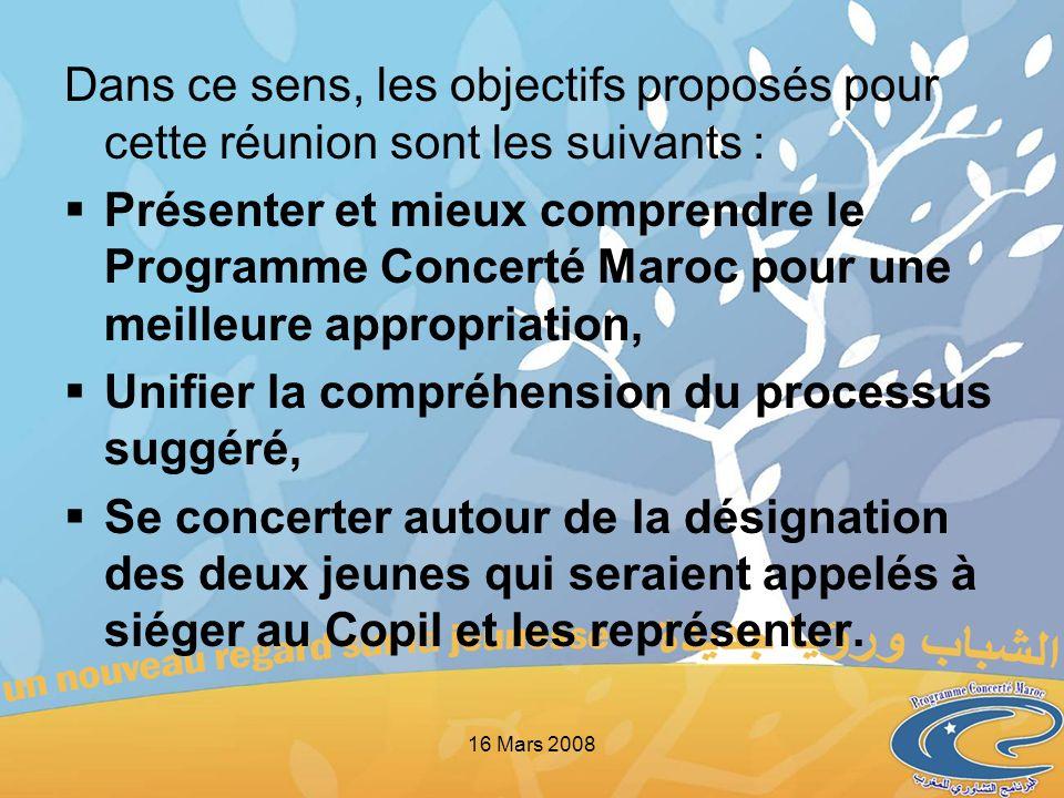 Dans ce sens, les objectifs proposés pour cette réunion sont les suivants : Présenter et mieux comprendre le Programme Concerté Maroc pour une meilleu