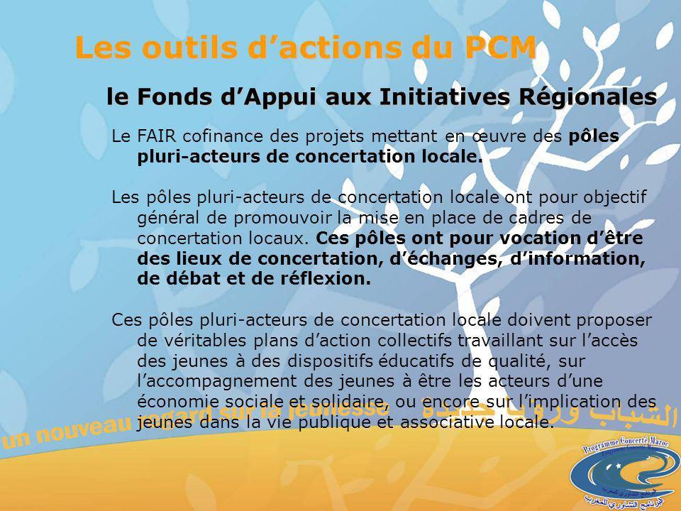 le Fonds dAppui aux Initiatives Régionales Les outils dactions du PCM Le FAIR cofinance des projets mettant en œuvre des pôles pluri-acteurs de concertation locale.