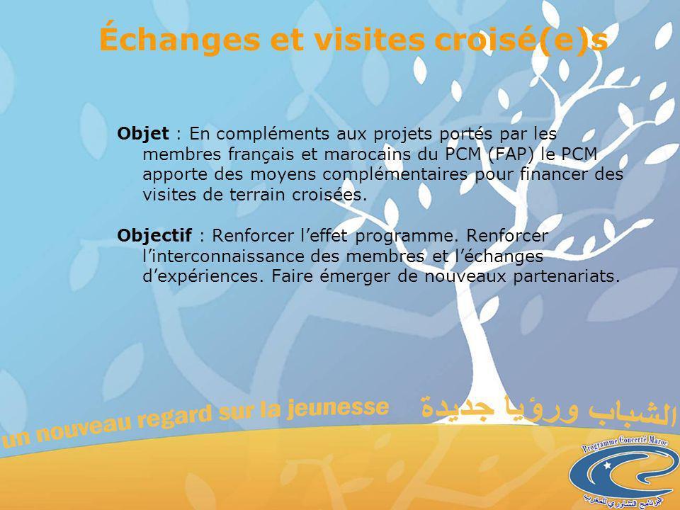 Échanges et visites croisé(e)s Objet : En compléments aux projets portés par les membres français et marocains du PCM (FAP) le PCM apporte des moyens complémentaires pour financer des visites de terrain croisées.