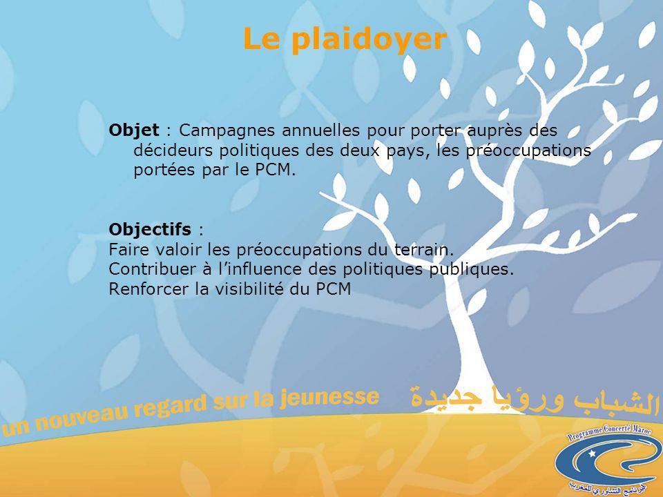 Le plaidoyer Objet : Campagnes annuelles pour porter auprès des décideurs politiques des deux pays, les préoccupations portées par le PCM.