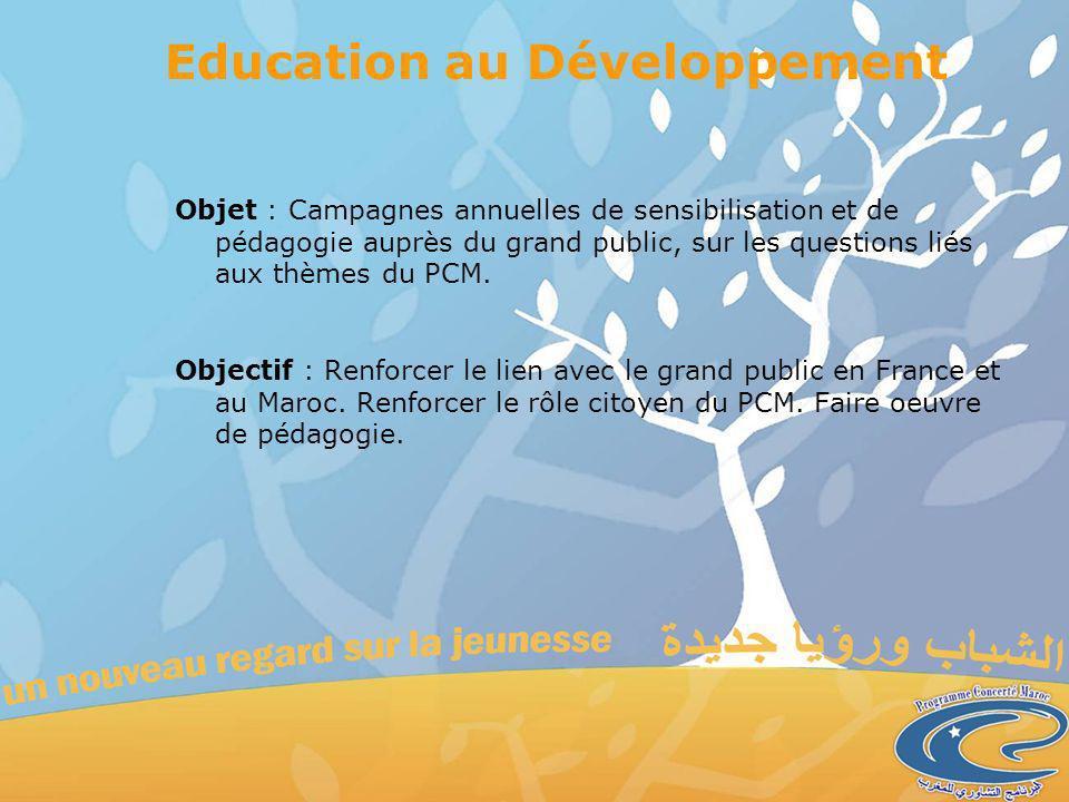 Education au Développement Objet : Campagnes annuelles de sensibilisation et de pédagogie auprès du grand public, sur les questions liés aux thèmes du PCM.