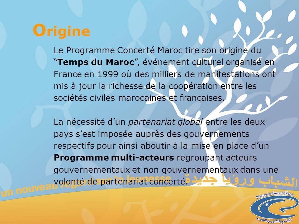 Le Programme Concerté Maroc tire son origine duTemps du Maroc, événement culturel organisé en France en 1999 où des milliers de manifestations ont mis à jour la richesse de la coopération entre les sociétés civiles marocaines et françaises.