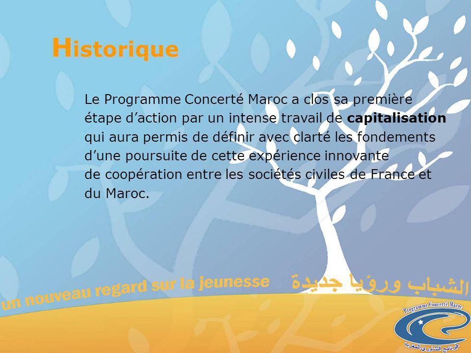 Le Programme Concerté Maroc a clos sa première étape daction par un intense travail de capitalisation qui aura permis de définir avec clarté les fondements dune poursuite de cette expérience innovante de coopération entre les sociétés civiles de France et du Maroc.