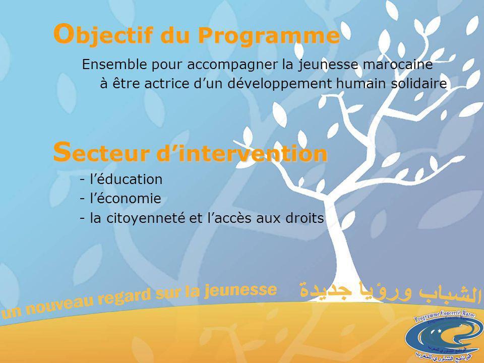 O bjectif du Programme Ensemble pour accompagner la jeunesse marocaine à être actrice dun développement humain solidaire - léducation - léconomie - la citoyenneté et laccès aux droits S ecteur dintervention