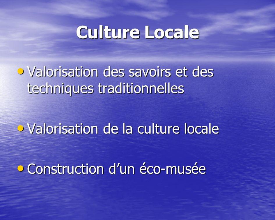 Culture Locale Valorisation des savoirs et des techniques traditionnelles Valorisation des savoirs et des techniques traditionnelles Valorisation de l