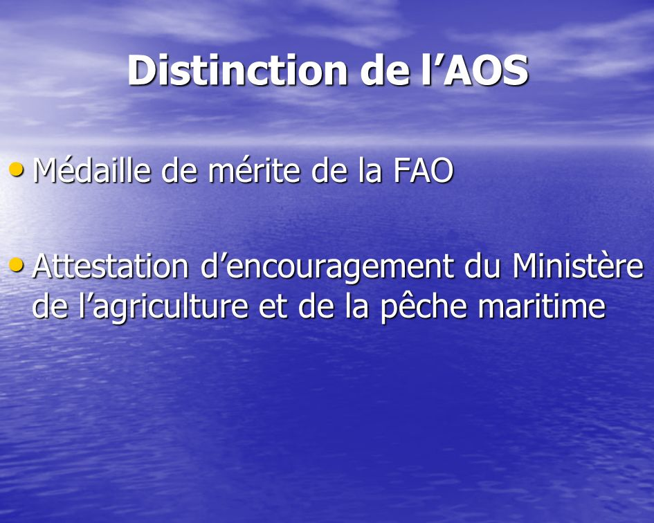 Distinction de lAOS Médaille de mérite de la FAO Médaille de mérite de la FAO Attestation dencouragement du Ministère de lagriculture et de la pêche m