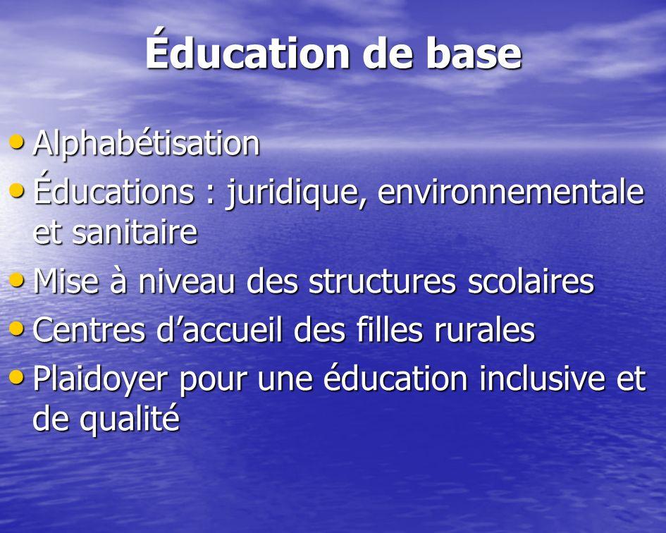Éducation de base Alphabétisation Alphabétisation Éducations : juridique, environnementale et sanitaire Éducations : juridique, environnementale et sa