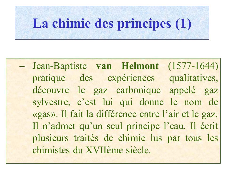 C.PAQUOT La chimie des principes (1) Jean-Baptiste van Helmont (1577-1644) pratique des expériences qualitatives, découvre le gaz carbonique appelé ga