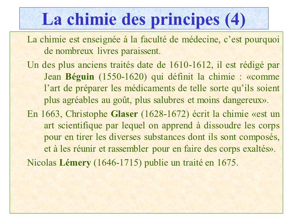 C.PAQUOT La chimie des principes (4) La chimie est enseignée à la faculté de médecine, cest pourquoi de nombreux livres paraissent. Un des plus ancien