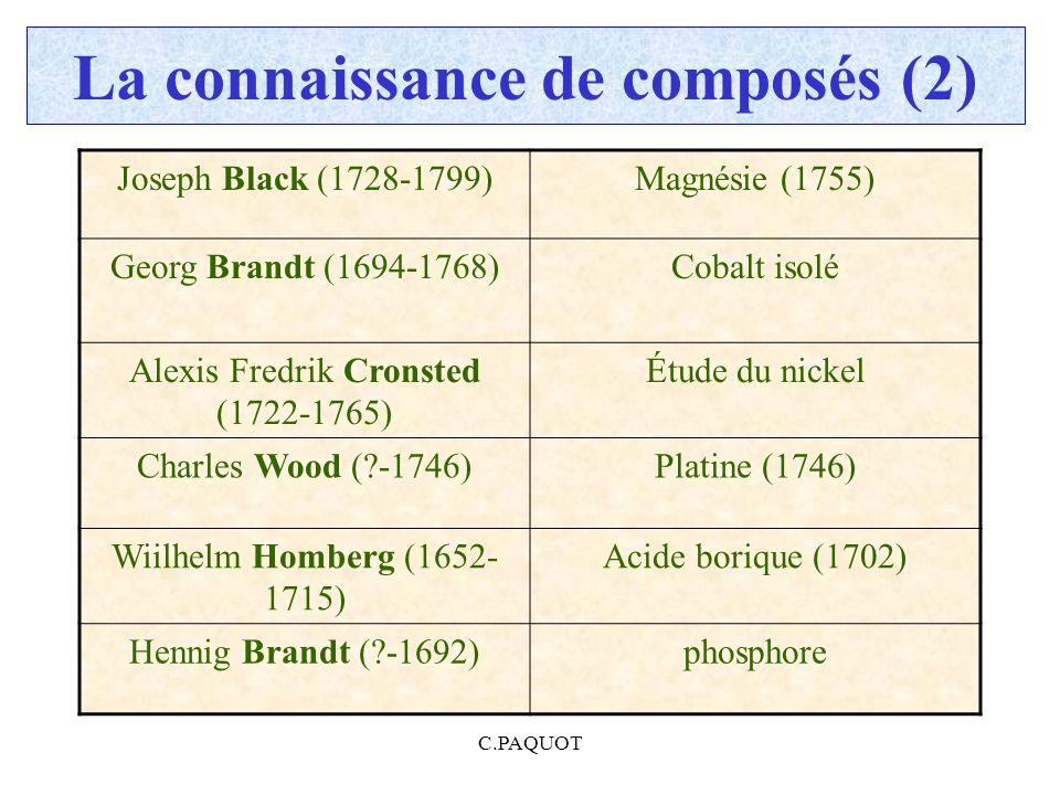 C.PAQUOT La connaissance de composés (2) Joseph Black (1728-1799)Magnésie (1755) Georg Brandt (1694-1768)Cobalt isolé Alexis Fredrik Cronsted (1722-17