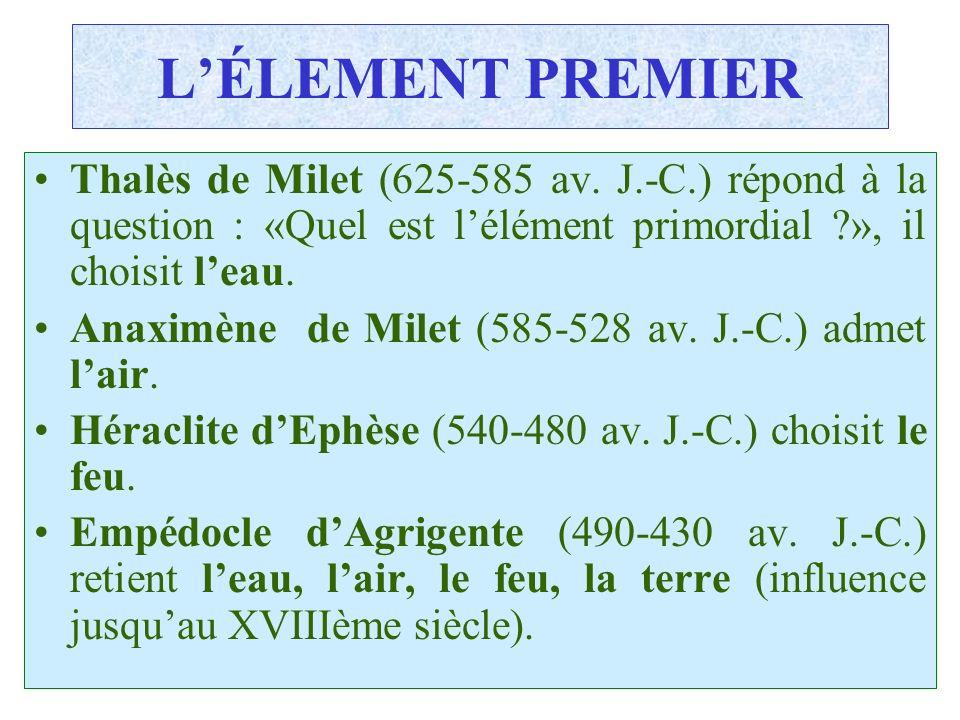 C.PAQUOT LÉLEMENT PREMIER Thalès de Milet (625-585 av. J.-C.) répond à la question : «Quel est lélément primordial ?», il choisit leau. Anaximène de M