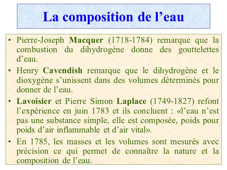 C.PAQUOT La composition de leau Pierre-Joseph Macquer (1718-1784) remarque que la combustion du dihydrogène donne des gouttelettes deau. Henry Cavendi