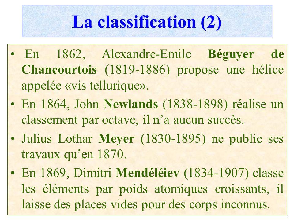 C.PAQUOT La classification (2) En 1862, Alexandre-Emile Béguyer de Chancourtois (1819-1886) propose une hélice appelée «vis tellurique». En 1864, John