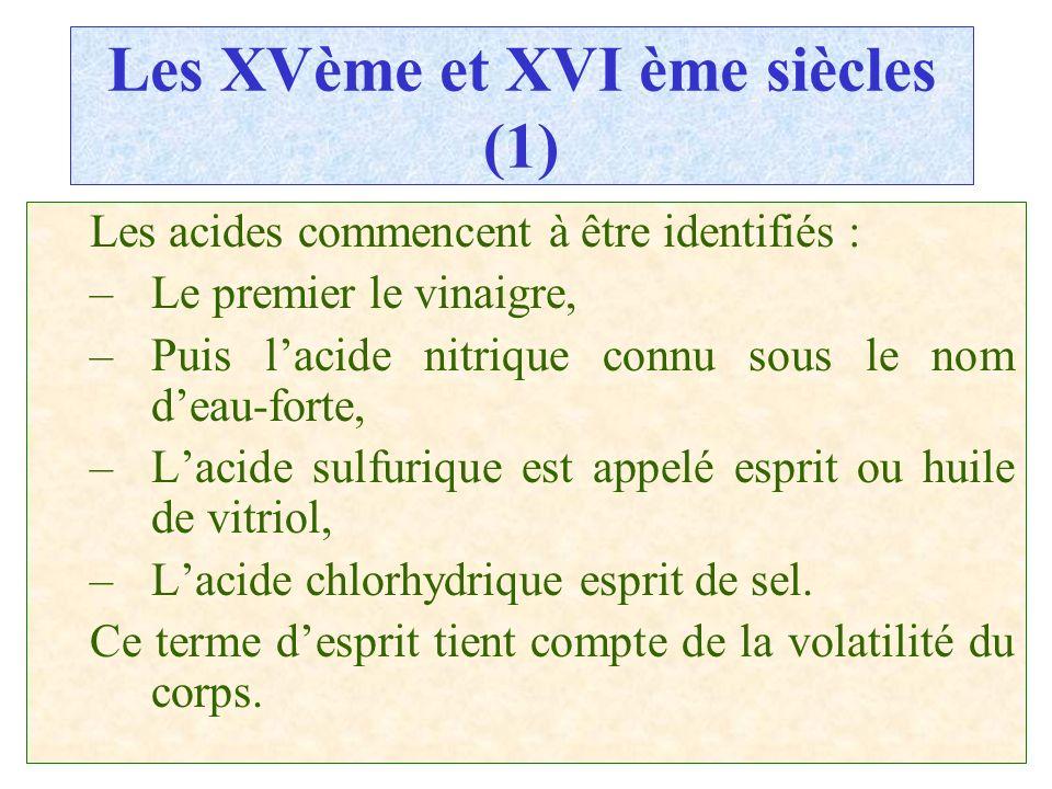 C.PAQUOT Les XVème et XVI ème siècles (1) Les acides commencent à être identifiés : –Le premier le vinaigre, –Puis lacide nitrique connu sous le nom d
