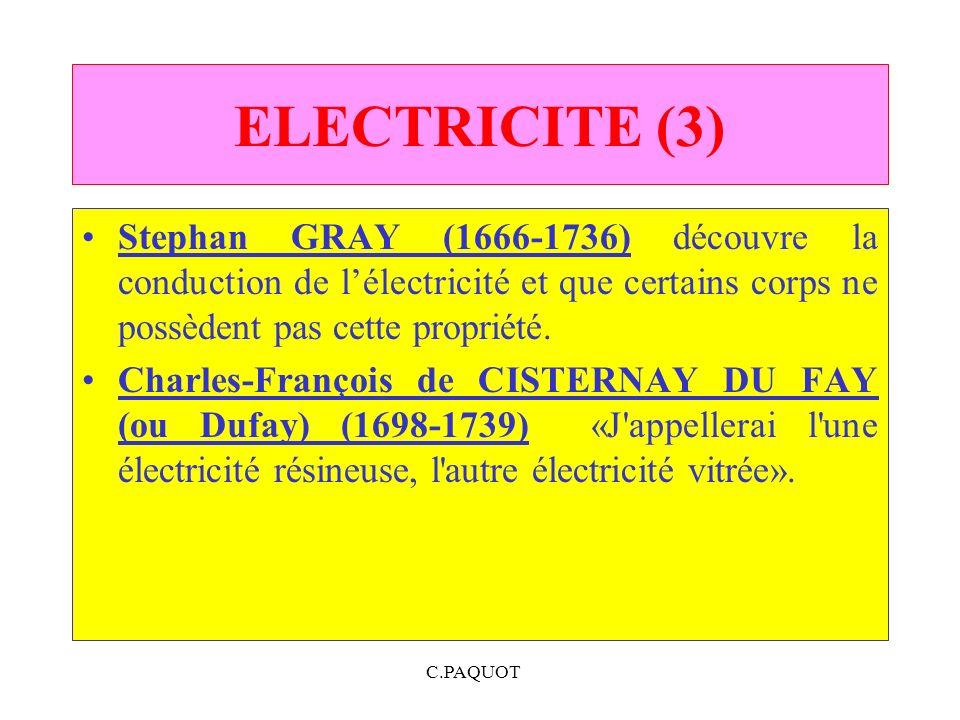 C.PAQUOT ELECTRICITE (3) Stephan GRAY (1666-1736) découvre la conduction de lélectricité et que certains corps ne possèdent pas cette propriété. Charl