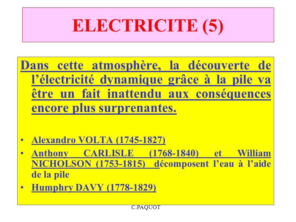 C.PAQUOT ELECTRICITE (5) Dans cette atmosphère, la découverte de lélectricité dynamique grâce à la pile va être un fait inattendu aux conséquences enc
