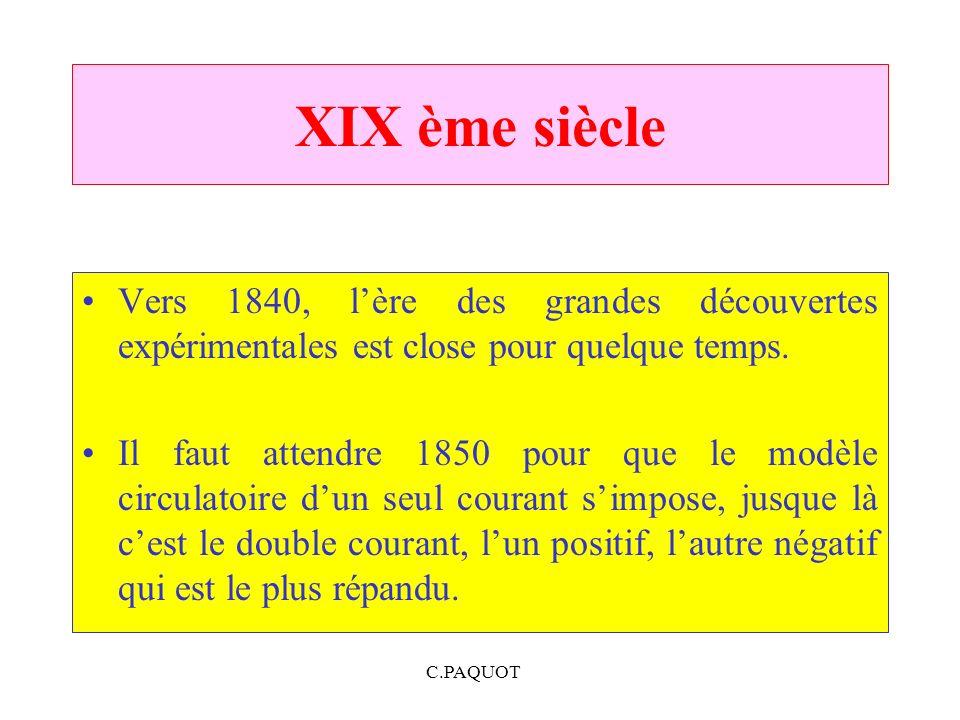 C.PAQUOT XIX ème siècle Vers 1840, lère des grandes découvertes expérimentales est close pour quelque temps. Il faut attendre 1850 pour que le modèle