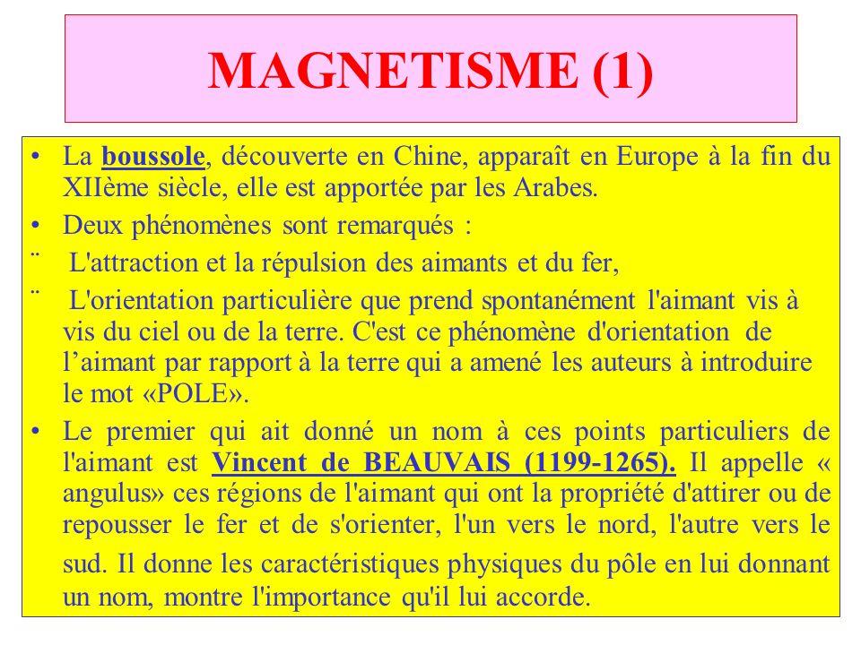 C.PAQUOT MAGNETISME (1) La boussole, découverte en Chine, apparaît en Europe à la fin du XIIème siècle, elle est apportée par les Arabes. Deux phénomè