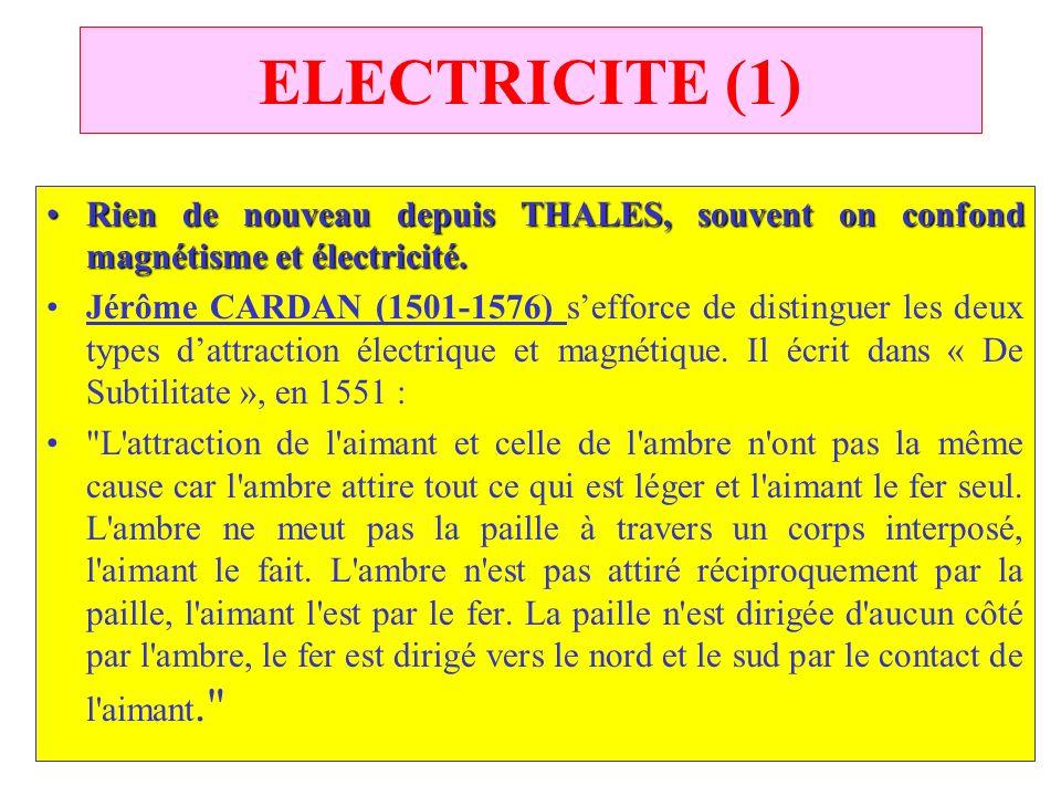 C.PAQUOT ELECTRICITE (1) RienRien de nouveau depuis THALES, souvent on confond magnétisme et électricité. Jérôme CARDAN (1501-1576) sefforce de distin