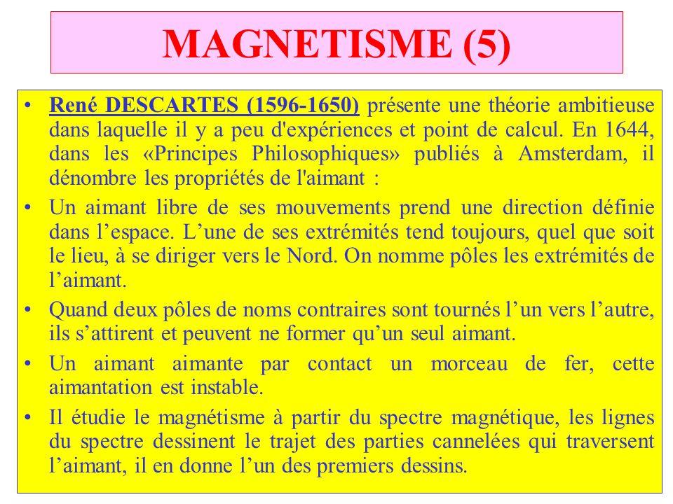 C.PAQUOT MAGNETISME (5) René DESCARTES (1596 1650) présente une théorie ambitieuse dans laquelle il y a peu d'expériences et point de calcul. En 1644,