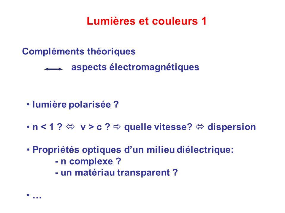 Lumières et couleurs 1 Compléments théoriques aspects électromagnétiques lumière polarisée ? n c ? quelle vitesse? dispersion Propriétés optiques dun