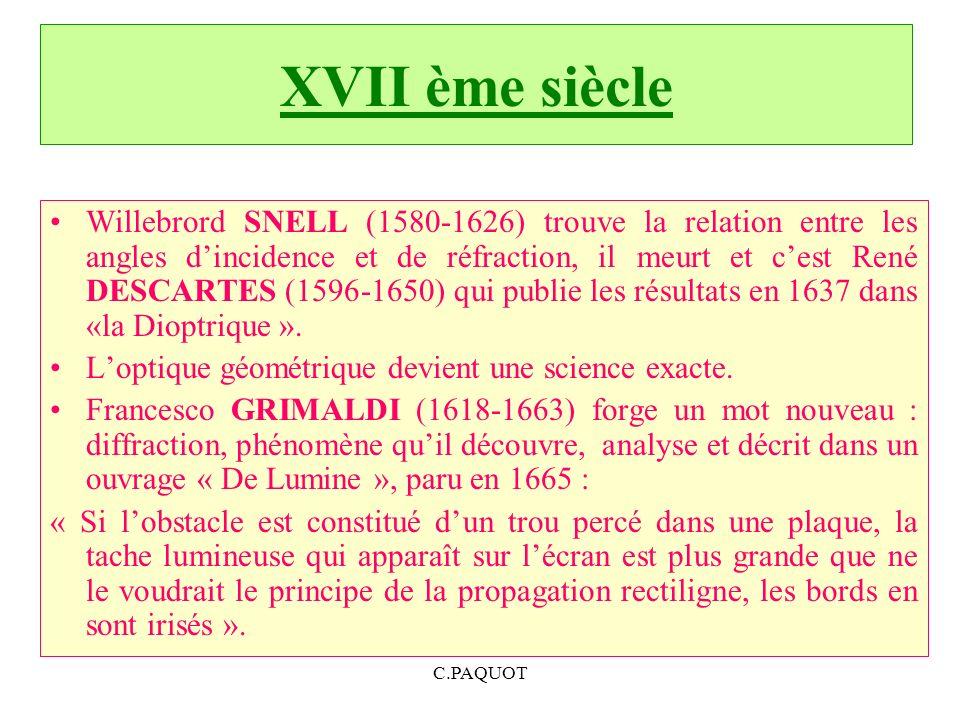 C.PAQUOT XVII ème siècle Willebrord SNELL (1580-1626) trouve la relation entre les angles dincidence et de réfraction, il meurt et cest René DESCARTES (1596-1650) qui publie les résultats en 1637 dans «la Dioptrique ».