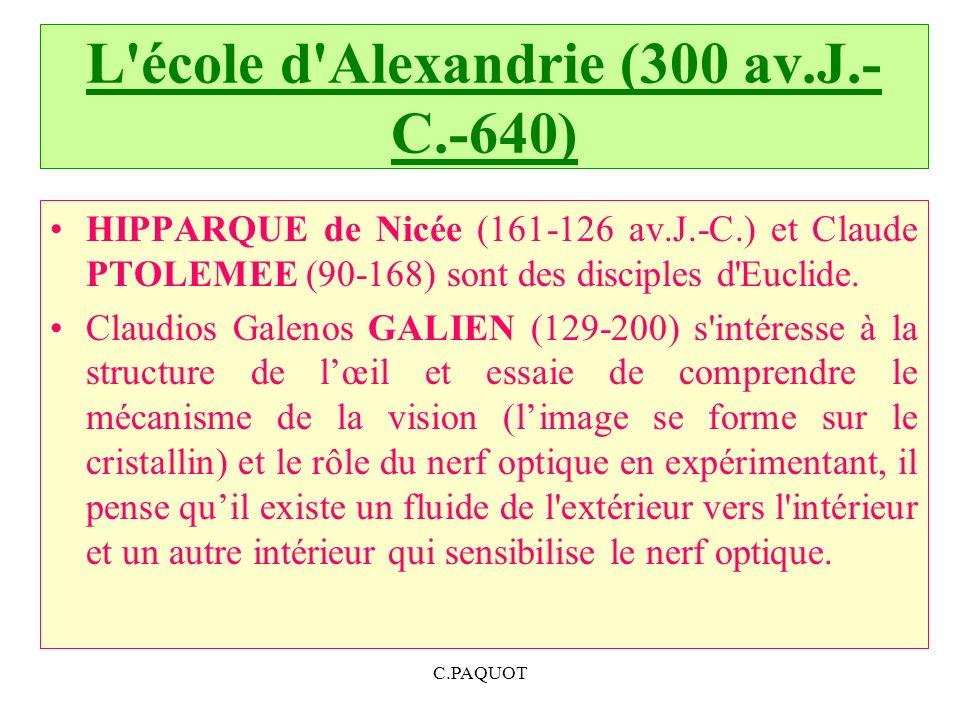 L'école d'Alexandrie (300 av.J.- C.-640) HIPPARQUE de Nicée (161 126 av.J. C.) et Claude PTOLEMEE (90 168) sont des disciples d'Euclide. Claudios Gale