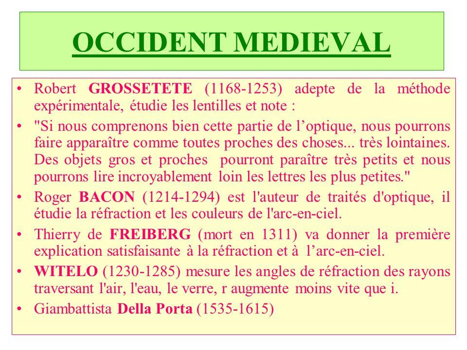 C.PAQUOT OCCIDENT MEDIEVAL Robert GROSSETETE (1168 1253) adepte de la méthode expérimentale, étudie les lentilles et note : Si nous comprenons bien cette partie de loptique, nous pourrons faire apparaître comme toutes proches des choses...