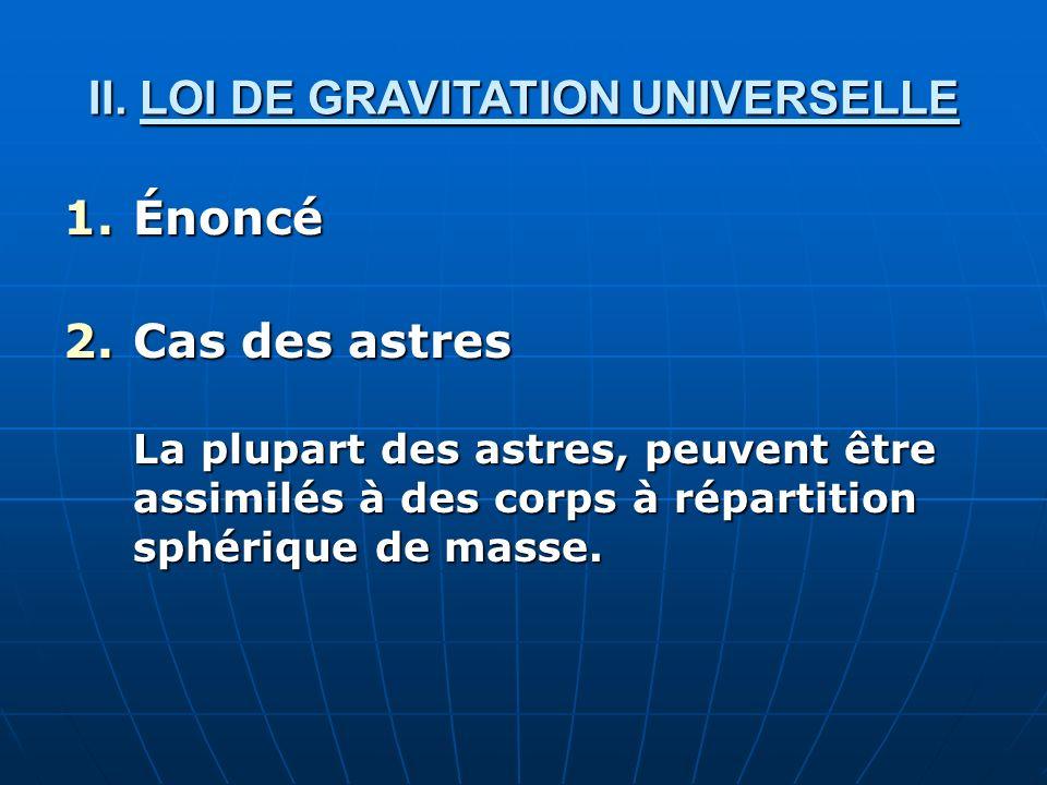 II. LOI DE GRAVITATION UNIVERSELLE 1.Énoncé 2.Cas des astres La plupart des astres, peuvent être assimilés à des corps à répartition sphérique de mass
