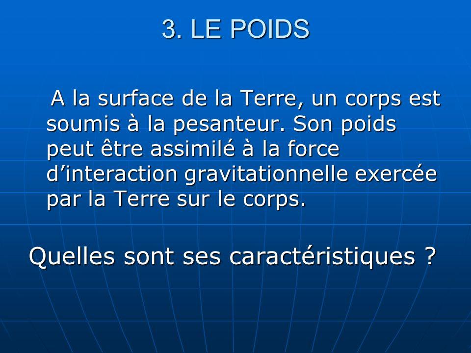 3. LE POIDS A la surface de la Terre, un corps est soumis à la pesanteur. Son poids peut être assimilé à la force dinteraction gravitationnelle exercé