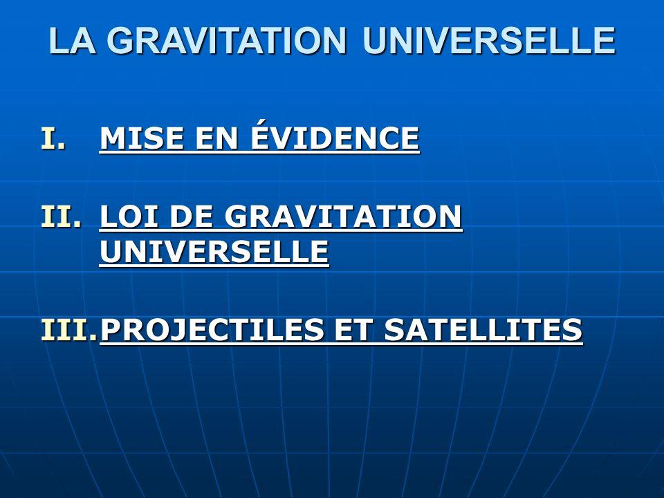 LA GRAVITATION UNIVERSELLE I.MISE EN ÉVIDENCE II.LOI DE GRAVITATION UNIVERSELLE III.PROJECTILES ET SATELLITES