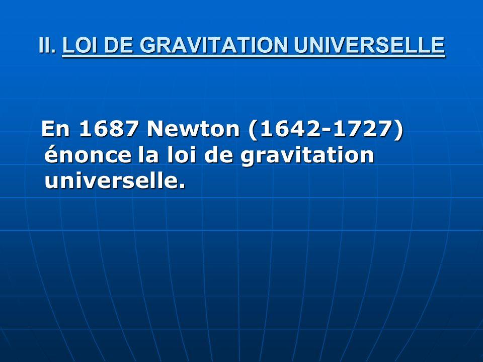 II. LOI DE GRAVITATION UNIVERSELLE En 1687 Newton (1642-1727) énonce la loi de gravitation universelle. En 1687 Newton (1642-1727) énonce la loi de gr